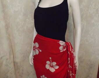 Estate Red and White Mini Sarong, Skirt, Headress, shawl, scarf