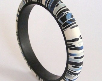 Black and Blue Stroppel handmade polymerclay bangle