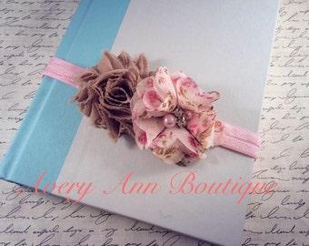 Pink Baby Headband, Brown Headband, Baby Headband, Newborn Headband, Flower Headband, Couture Headband, Coral Headband, Petite Headband