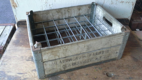 Vintage small bottle wood milk crate by vintagerelics802 for Where can i buy wooden milk crates