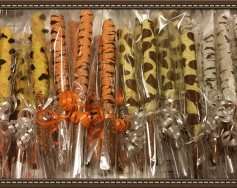 Safari animal print inspired chocolate dipped pretzels for Valentine party/ birthday / wedding / baby shower party favor
