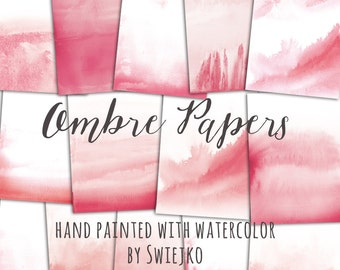 Ombre Watercolor Digital Paper, hand painted background, greeting cards, wedding stationery, washes, watercolour texture, scrapbooking