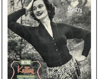 Knitting Pattern 1950s Batwing Cardigan - PDF Knitting Pattern - PDF Instant Download