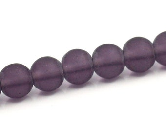 4MM Frosted Purple Glass Strand - 12""