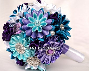 Wedding Bouquet, Brooch bouquet, purple, turquoise, white, 7 inches