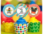 Mickey Mouse; Mickey Mouse Clubhouse Party; Mickey Mouse Birthday Party Cupcake Wrappers & Toppers Printed, Cut, and Shipped to you!