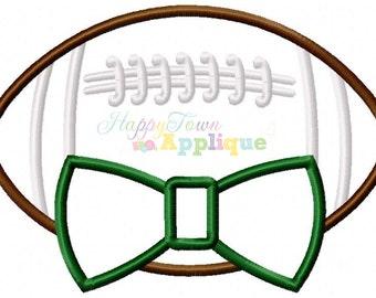 Football with Bow Tie Machine Applique Design