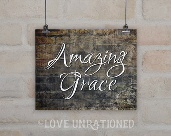 Digital Art Print - Amazing Grace, art print, download, typography, Instant Download, wall art poster print, Christian hymn