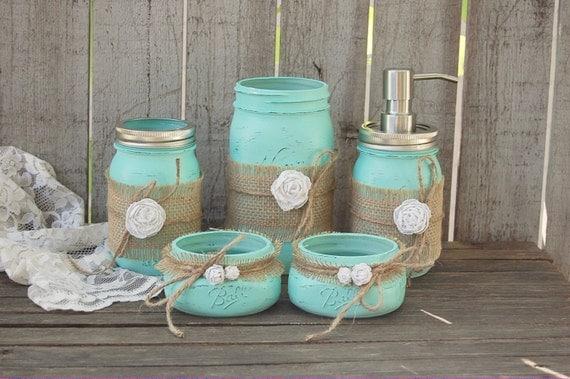 mason jar bathroom set mint green shabby chic soap