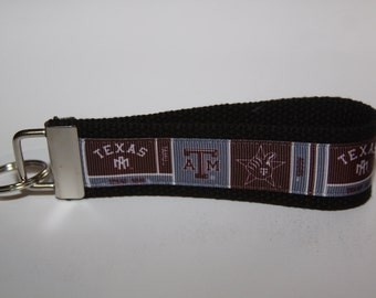 Key chain wristlet key fob with Texas A&M ribbon