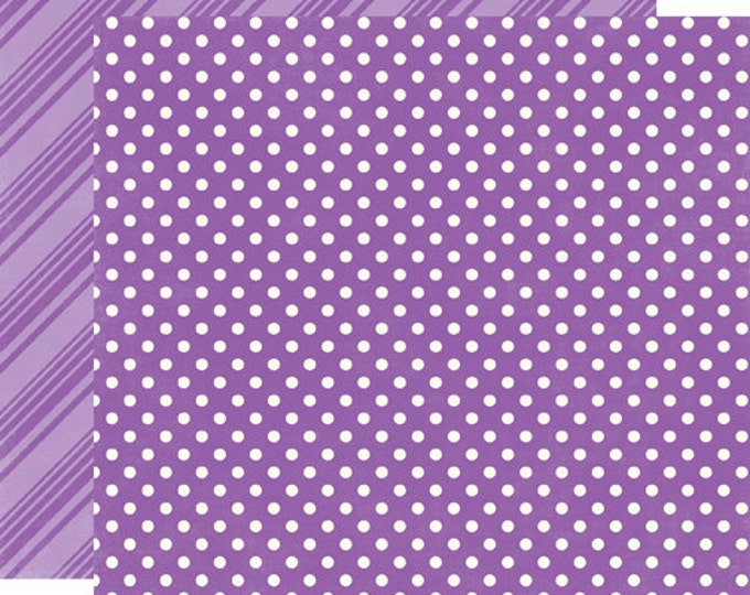 1 Sheet of Echo Park Paper DOTS & STRIPES Spring 12x12 Scrapbook Paper - Grape (DS15006)