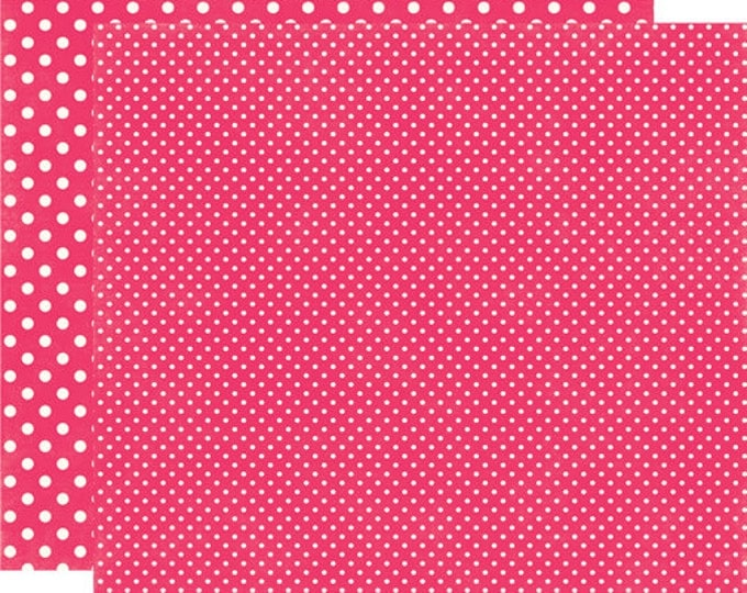 2 Sheets of Echo Park Paper DOTS & STRIPES Valentine 12x12 Scrapbook Paper - Lipgloss (2 Sizes of Dots/No Stripes) DS15058