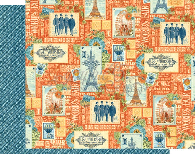 2 Sheets of WORLD'S FAIR Scrapbook Paper by Graphic 45 - Envision
