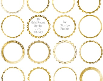 Gold frames clipart, Gold circle borders clipart Gold Round Border  Gold Lace Border  scrapbooking  wedding invitation commercial use