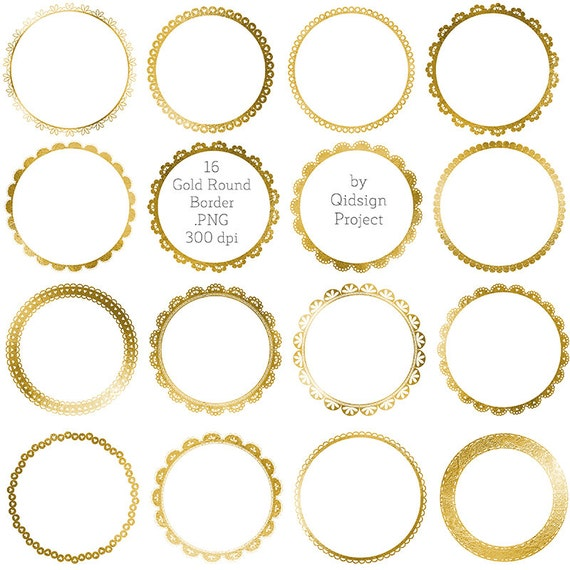 Gold circle borders clipart Gold Round Border Gold Lace
