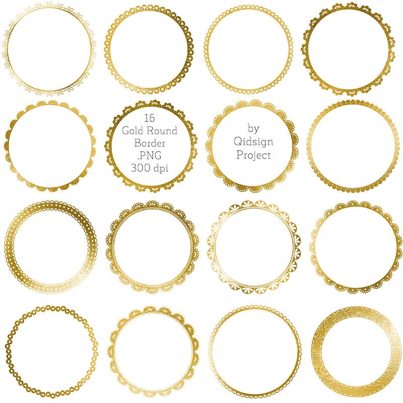 Gold frames clipart Gold circle borders clipart Gold Round