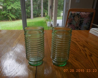 ANCHOR HOCKING Light Green Ribbed Beehive glasses