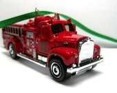 1963 Red Mack Fire Truck Car Christmas Ornament