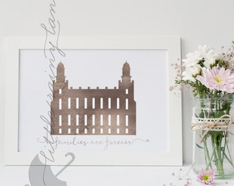 LDS Temple art - Customizable - Logan Temple - Printable
