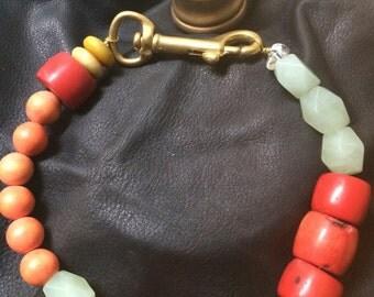 Handmade Chunky Crystal Choker Necklace, Statement Choker Design, Statement Necklace with Red Coral, Contemporary