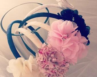 Rhinestone Flower Headbands- Hard ribbon-wrapped headband. Flowers with Rhinestone Center
