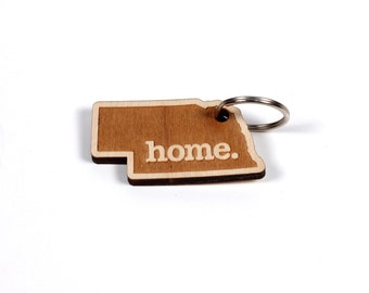 Nebraska Key Charm by Home State Apparel: Laser Engraved Wood Keychain, NE
