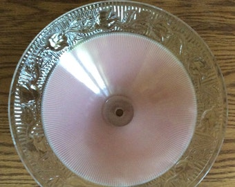 Vintage Antique 1930's Art Deco Frosted Pink Ceiling Light Fixture Raised Floral Design  / Replacement Shade / Pink Globe