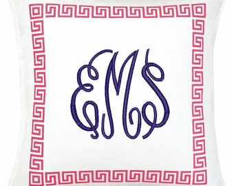 Monogrammed Greek Key Pillow