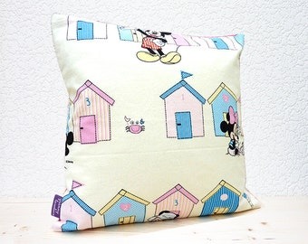 "Handmade Childrens Mickey Mouse & Friends Beach Huts Design Fabric 14"" x14"" Cotton Cushion Pillow Cover"