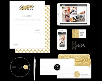 Premade Logos, business cards, facebook cover, DIY Branding Kit Oh Hello