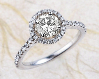 14k Halo White Gold Engagement Ring Center is .75 Ctw G / SI 2 Clarity Diamond