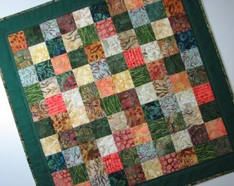 "Autumn Quilted Table Topper, Modern Batik Quilted Patchwork Table Mat, Green Rust Gold, 23.75""x23.75"", Quiltsy Handmade"