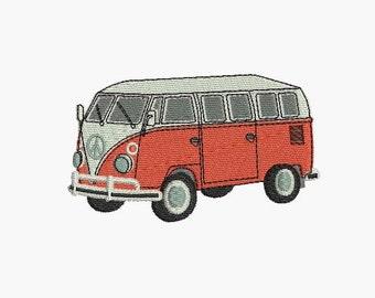 instant download Machine Embroidery design Combi rétro car