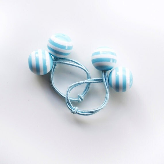 Hair ties. Elastic hair ties. Funky. Baby blue. Retro style hair bobbles.
