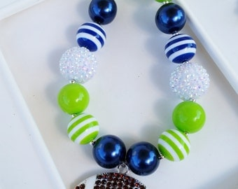 Adult Seahawks inspired football necklace, Seahawks jewelry, Seahawks chunky jewelry