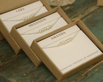 Bridesmaid bracelet set of 4 pearl bracelets for bridesmaids, bridesmaid jewelry set of 4, pearl bracelet bridesmaid - Beth