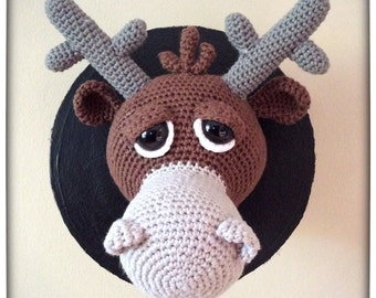 Crochet Pattern, Moosley JR - wall trophy