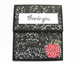 Teacher Gift Card Holder,Teacher Thank You Gift, Teacher Appreciation, Year End Teacher Gift, Composition Notebook