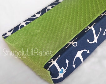 Navy anchor, lime minky changing pad cover minky dot