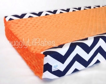 Navy chevron, orange minky dot changing pad cover