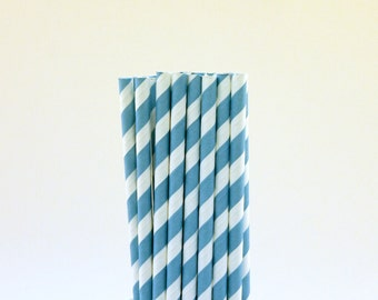 Blue Striped Paper Straws-Blue Straws-Striped Straws-Pool Party Straws-Wedding Straws-Police Party Decor-Paper Drinking Straws