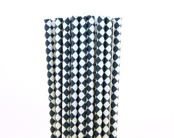 Navy Blue Diamond Paper Straws-Nautical Straws-Diamond Paper Straws-Whale Party Straws-Shabby Chic Straws-Navy Blue Drinking Straws