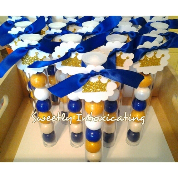 Prince Baby Shower Favors: 12CT. Royal Blue White & Gold Prince Theme Gumball Favors