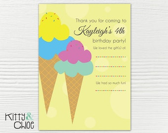 Ice Cream Party Thank You Cards, 5x7 or 4x6