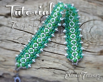 """Beaded bracelet pattern with O-beads and SuperDuo - """"The eye-catching"""" / BEADING TUTORIAL ONLY"""