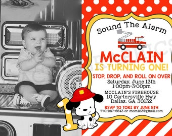 Firetruck Birthday Invitation Firefighter Birthday Party Fire Truck Invite Boy Red Yellow Cute Printable