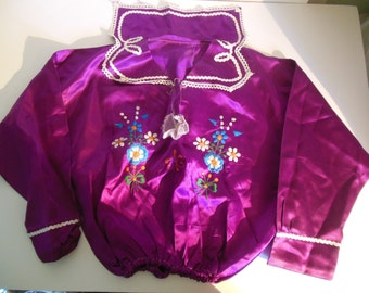 Vintage Embroidered Phlox Purple SATIN BLOUSE Top ECUADOR Native Quechua