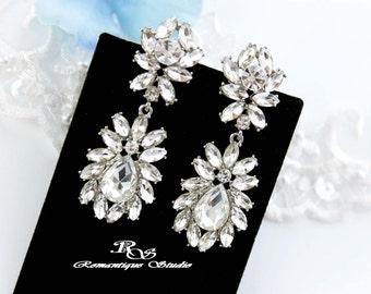 Crystal cluster earrings vintage style wedding earrings bridal rhinestone earrings bridesmaid earrings bridal jewelry accessories - 1331