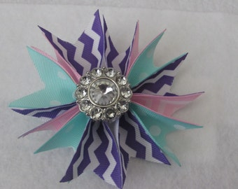 Spike Ribbon Hair Bow with Rhinestone Accent