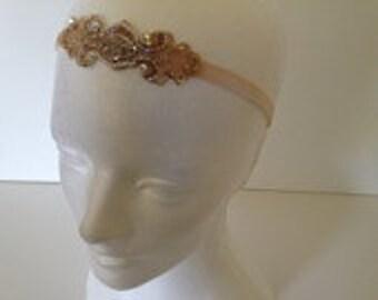 1920s Headpiece Fascinator Fascinate Gatsby Headpiece Hair accessories Silver or Bronze beading Fascinator